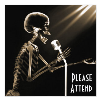 X-RAY SKELETON SINGING ON RETRO MIC - SEPIA 13 CM X 13 CM SQUARE INVITATION CARD