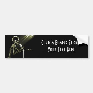 X-RAY SKELETON SINGING ON RETRO MIC - YELLOW BUMPER STICKER
