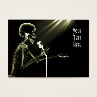 X-RAY SKELETON SINGING ON RETRO MIC - YELLOW BUSINESS CARD