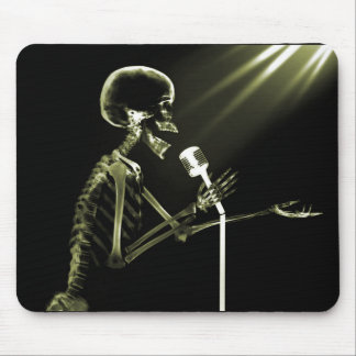 X-RAY SKELETON SINGING ON RETRO MIC - YELLOW MOUSE MAT