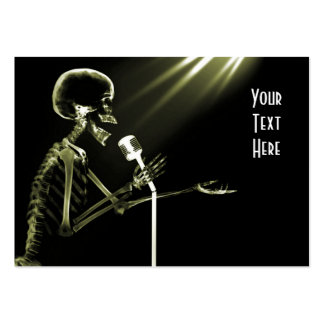 X-RAY SKELETON SINGING ON RETRO MIC - YELLOW PACK OF CHUBBY BUSINESS CARDS
