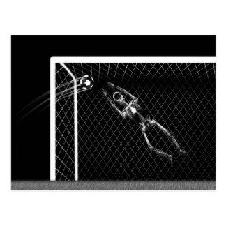 X-RAY SKELETON SOCCER GOALIE B&W POSTCARD
