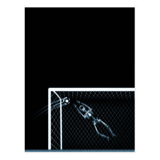 X-RAY SKELETON SOCCER GOALIE BLUE POSTCARD