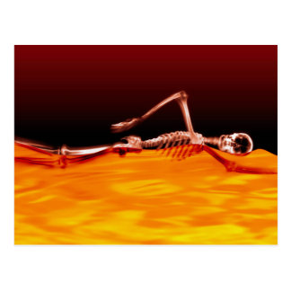 X-Ray Skeleton Swimming in Lake of Fire Postcard