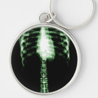 X-RAY SKELETON TORSO RIBS - GREEN Silver-Colored ROUND KEY RING