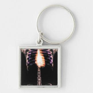 X-RAY SKELETON TORSO RIBS - ORIGINAL Silver-Colored SQUARE KEY RING
