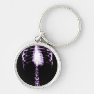 X-RAY SKELETON TORSO RIBS - PURPLE Silver-Colored ROUND KEY RING