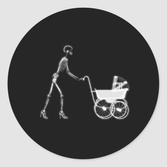 X-RAY SKELETON WOMAN & BABY CARRIAGE - B&W CLASSIC ROUND STICKER
