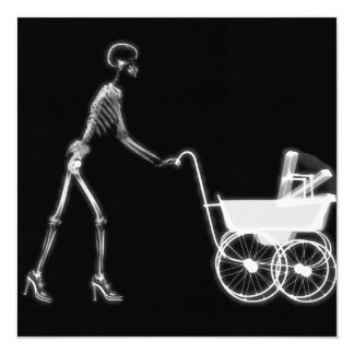 """X-RAY SKELETON WOMAN & BABY CARRIAGE - B&W 5.25"""" SQUARE INVITATION CARD"""