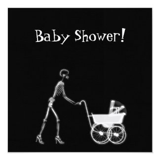 "X-RAY SKELETON WOMAN & BABY CARRIAGE - B&W 5.25"" SQUARE INVITATION CARD"