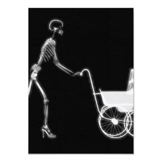 "X-RAY SKELETON WOMAN & BABY CARRIAGE - B&W 4.5"" X 6.25"" INVITATION CARD"