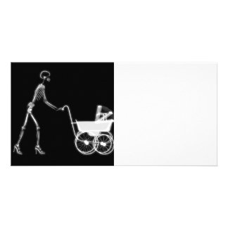 X-RAY SKELETON WOMAN & BABY CARRIAGE - B&W PICTURE CARD