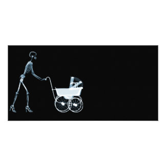 X-RAY SKELETON WOMAN & BABY CARRIAGE - BLUE CUSTOMIZED PHOTO CARD