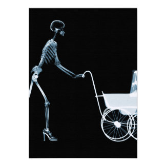 X-RAY SKELETON WOMAN BABY CARRIAGE - BLUE INVITES