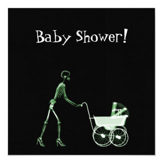 X-RAY SKELETON WOMAN & BABY CARRIAGE - GREEN 13 CM X 13 CM SQUARE INVITATION CARD