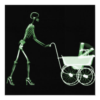 """X-RAY SKELETON WOMAN & BABY CARRIAGE - GREEN 5.25"""" SQUARE INVITATION CARD"""