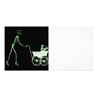 X-RAY SKELETON WOMAN & BABY CARRIAGE - GREEN PHOTO CARDS