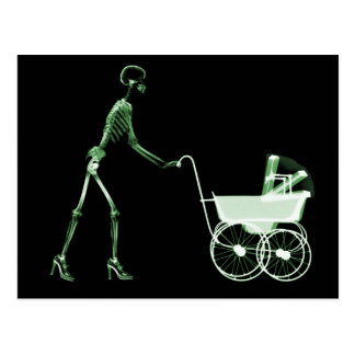 X-RAY SKELETON WOMAN & BABY CARRIAGE - GREEN POSTCARD