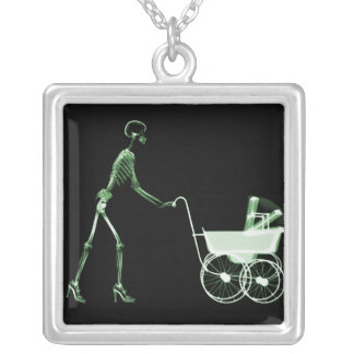 X-RAY SKELETON WOMAN & BABY CARRIAGE - GREEN SILVER PLATED NECKLACE