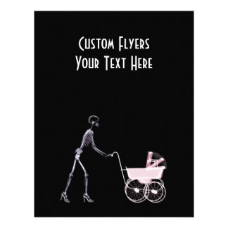X-RAY SKELETON WOMAN BABY CARRIAGE - PINK CUSTOM FLYER