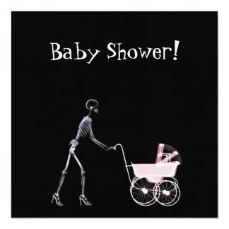 "X-RAY SKELETON WOMAN & BABY CARRIAGE - PINK 5.25"" SQUARE INVITATION CARD"