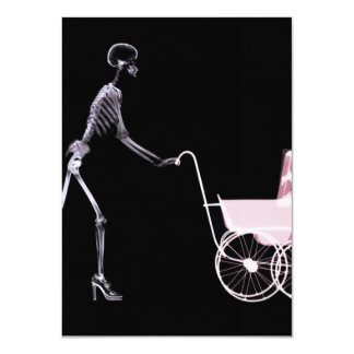 """X-RAY SKELETON WOMAN & BABY CARRIAGE - PINK 4.5"""" X 6.25"""" INVITATION CARD"""