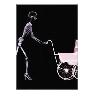 X-RAY SKELETON WOMAN BABY CARRIAGE - PINK ANNOUNCEMENT