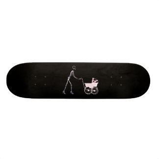 X-RAY SKELETON WOMAN & BABY CARRIAGE - PINK SKATE BOARD
