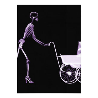 X-RAY SKELETON WOMAN & BABY CARRIAGE - PURPLE 11 CM X 16 CM INVITATION CARD
