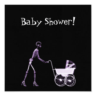 X-RAY SKELETON WOMAN & BABY CARRIAGE - PURPLE 13 CM X 13 CM SQUARE INVITATION CARD