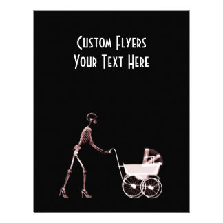 X-RAY SKELETON WOMAN BABY CARRIAGE - RED FLYERS