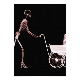X-RAY SKELETON WOMAN BABY CARRIAGE - RED PERSONALIZED INVITATION