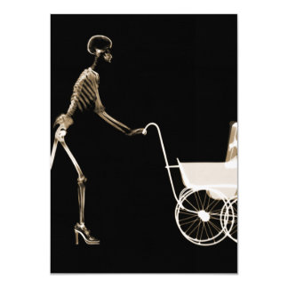 X-RAY SKELETON WOMAN & BABY CARRIAGE - SEPIA 4.5X6.25 PAPER INVITATION CARD