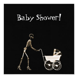 "X-RAY SKELETON WOMAN & BABY CARRIAGE - SEPIA 5.25"" SQUARE INVITATION CARD"