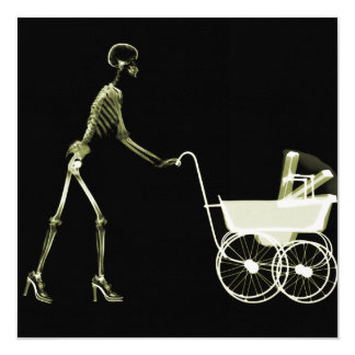 X-RAY SKELETON WOMAN & BABY CARRIAGE - YELLOW 13 CM X 13 CM SQUARE INVITATION CARD