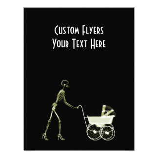 X-RAY SKELETON WOMAN BABY CARRIAGE - YELLOW PERSONALIZED FLYER