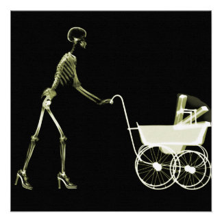 X-RAY SKELETON WOMAN BABY CARRIAGE - YELLOW PERSONALIZED INVITATIONS