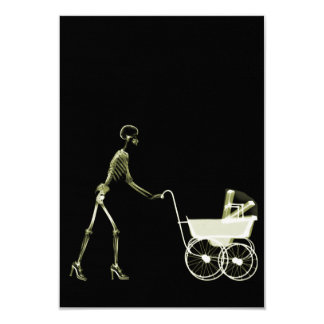 """X-RAY SKELETON WOMAN & BABY CARRIAGE - YELLOW 3.5"""" X 5"""" INVITATION CARD"""