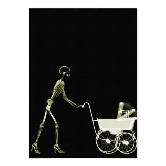 X-RAY SKELETON WOMAN BABY CARRIAGE - YELLOW PERSONALIZED INVITES