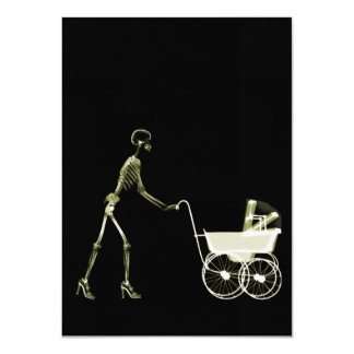X-RAY SKELETON WOMAN & BABY CARRIAGE - YELLOW 11 CM X 16 CM INVITATION CARD