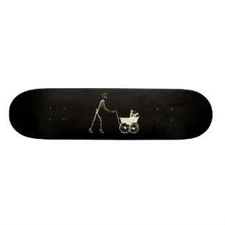 X-RAY SKELETON WOMAN & BABY CARRIAGE - YELLOW SKATE BOARD