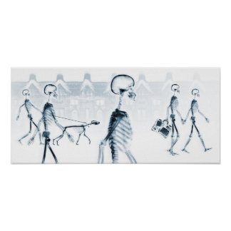 X-Ray Skeletons Afternoon Stroll Black Blue Poster