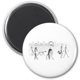 X-Ray Skeletons Afternoon Stroll Neg BW 6 Cm Round Magnet