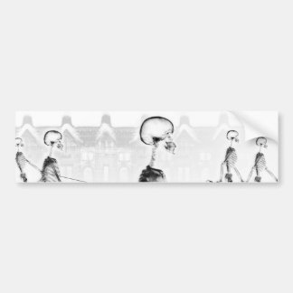 X-Ray Skeletons Afternoon Stroll Neg BW Bumper Sticker