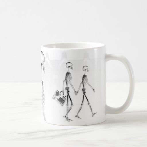 X-Ray Skeletons Afternoon Stroll Neg BW Coffee Mug
