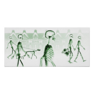 X-Ray Skeletons Afternoon Stroll White Green Poster