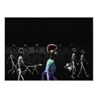 X-Ray Skeletons Midnight Stroll - B&W & Rainbow Invitation