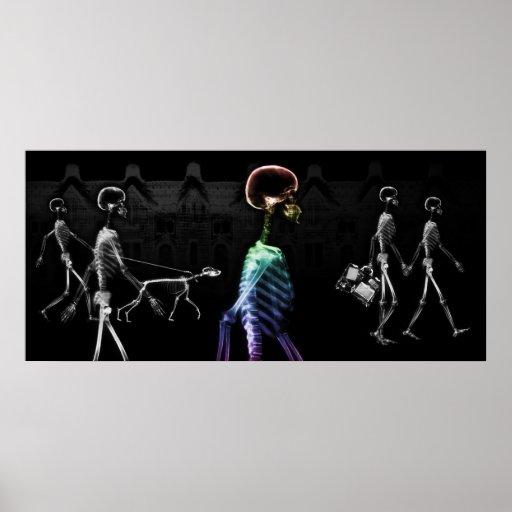 X-Ray Skeletons Midnight Stroll - B&W & Rainbow Poster