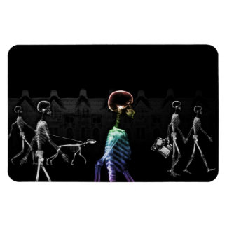 X-Ray Skeletons Midnight Stroll - B&W & Rainbow Rectangular Photo Magnet