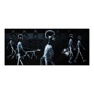 X-Ray Skeletons Midnight Stroll Black Blue 10 Cm X 24 Cm Invitation Card